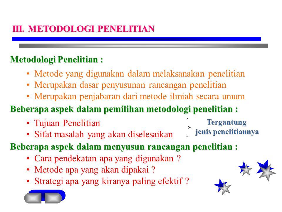 Metodologi Penelitian : Metode yang digunakan dalam melaksanakan penelitian Merupakan dasar penyusunan rancangan penelitian Merupakan penjabaran dari