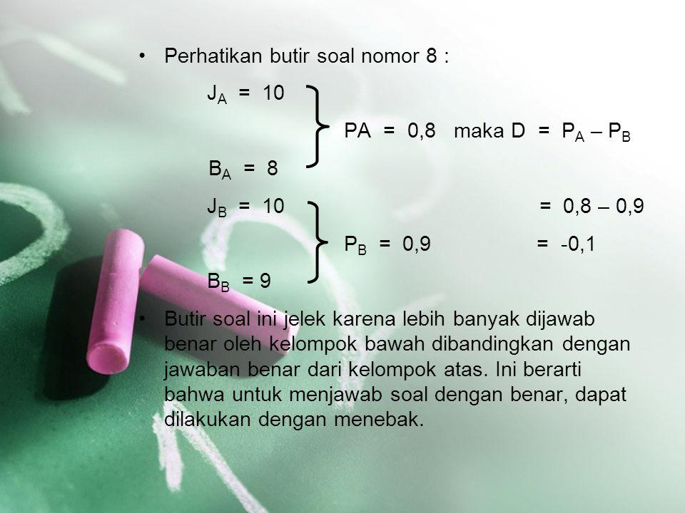 Perhatikan butir soal nomor 8 : J A = 10 PA = 0,8 maka D = P A – P B B A = 8 J B = 10 = 0,8 – 0,9 P B = 0,9 = -0,1 B B = 9 Butir soal ini jelek karena
