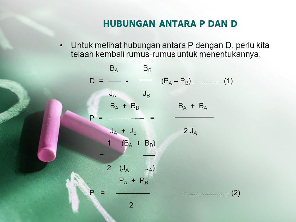 HUBUNGAN ANTARA P DAN D Untuk melihat hubungan antara P dengan D, perlu kita telaah kembali rumus-rumus untuk menentukannya. B A B B D = - (P A – P B