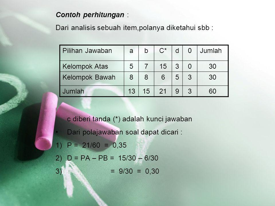 Contoh perhitungan : Dari analisis sebuah item,polanya diketahui sbb : c diberi tanda (*) adalah kunci jawaban Dari polajawaban soal dapat dicari : 1)
