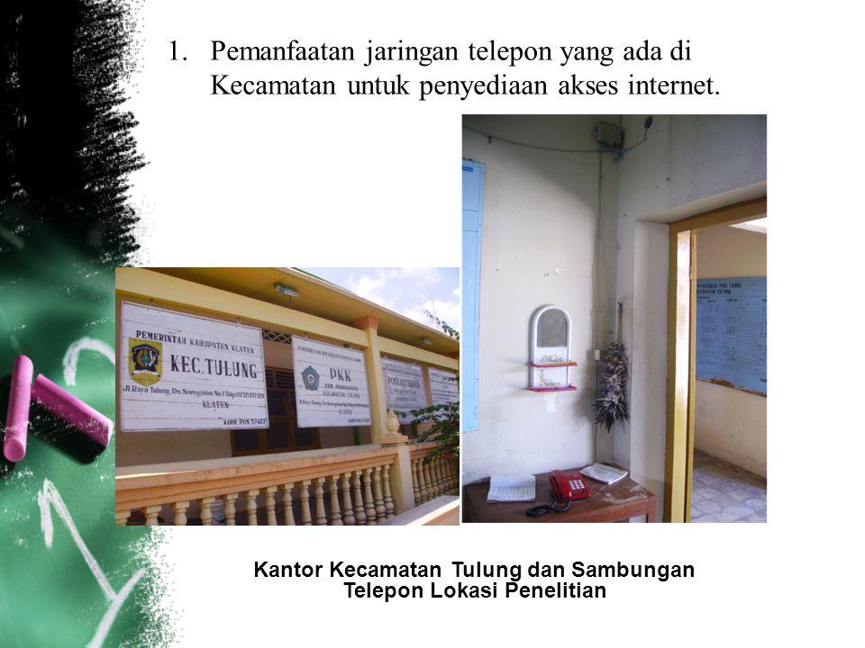 1.Pemanfaatan jaringan telepon yang ada di Kecamatan untuk penyediaan akses internet. Kantor Kecamatan Tulung dan Sambungan Telepon Lokasi Penelitian