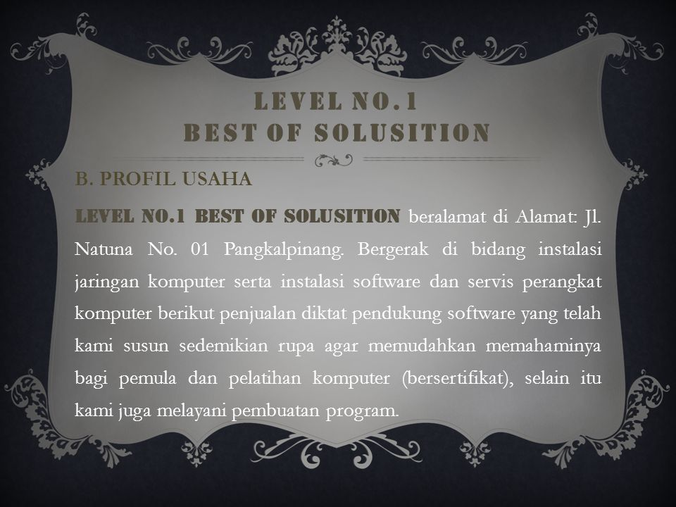 LEVEL NO.1 BEST OF SOLUSITION B.