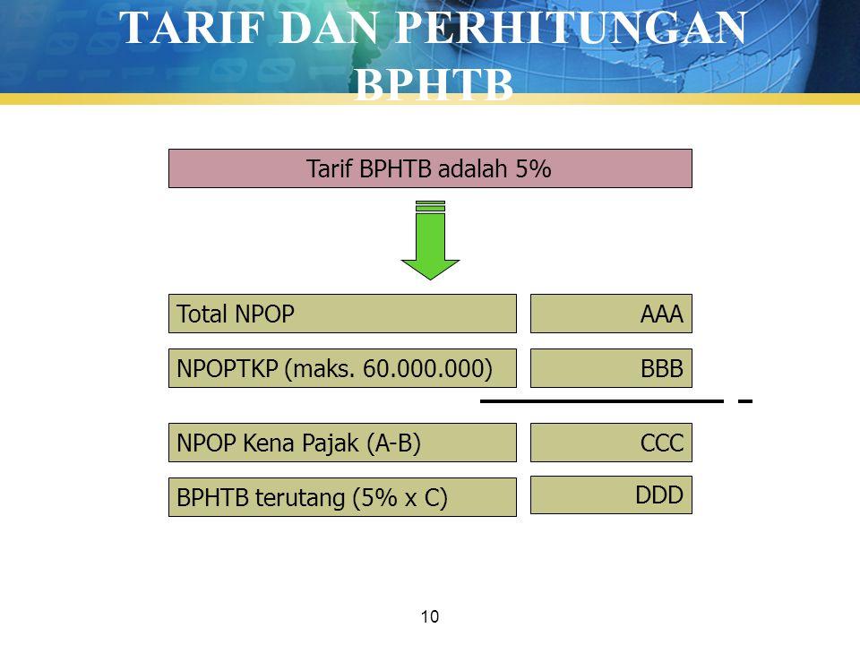10 TARIF DAN PERHITUNGAN BPHTB Tarif BPHTB adalah 5% Total NPOP NPOPTKP (maks. 60.000.000) NPOP Kena Pajak (A-B) BPHTB terutang (5% x C) AAA BBB CCC D