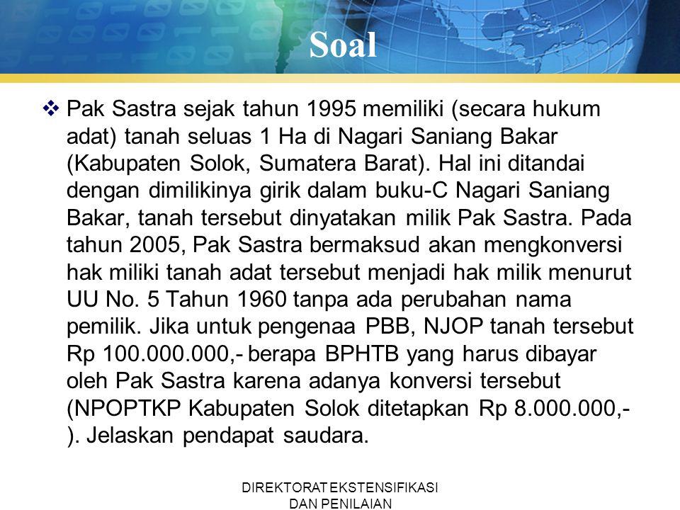 Soal  Pak Sastra sejak tahun 1995 memiliki (secara hukum adat) tanah seluas 1 Ha di Nagari Saniang Bakar (Kabupaten Solok, Sumatera Barat).