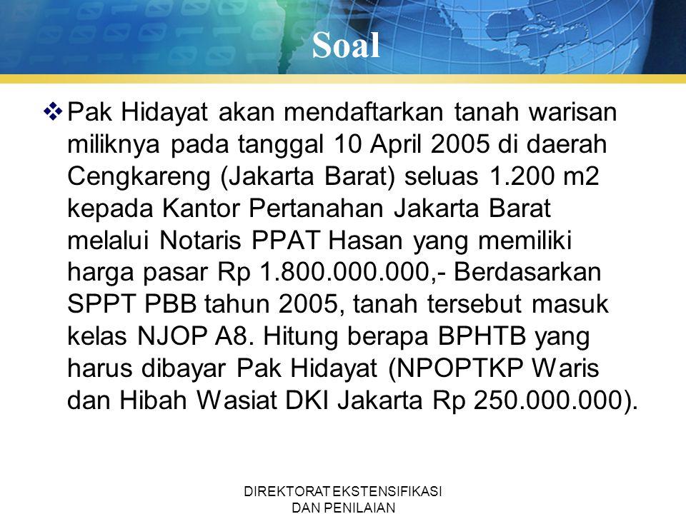 Soal  Pak Hidayat akan mendaftarkan tanah warisan miliknya pada tanggal 10 April 2005 di daerah Cengkareng (Jakarta Barat) seluas 1.200 m2 kepada Kan