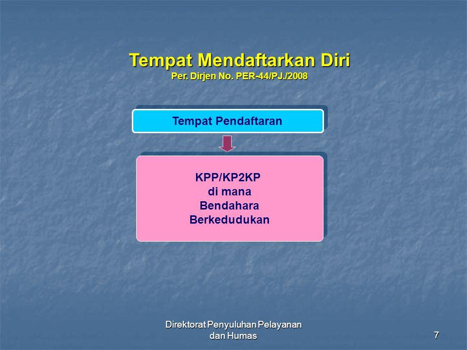 Direktorat Penyuluhan Pelayanan dan Humas48 TIDAK DIKENAKAN PEMOTONGAN PPh PASAL 23 ORANG PRIBADI / BADAN ORANG PRIBADI / BADAN YG DAPAT MENUNJUKKAN SKB PEMOTONGAN PPh PASAL 23/26 YG DAPAT MENUNJUKKAN SKB PEMOTONGAN PPh PASAL 23/26 WAJIB PAJAK YG MELAKSANAKAN PROYEK PEMERINTAH YG DIDANAI HIBAH ATAU PINJAMAN LN YG MELAKSANAKAN PROYEK PEMERINTAH YG DIDANAI HIBAH ATAU PINJAMAN LN