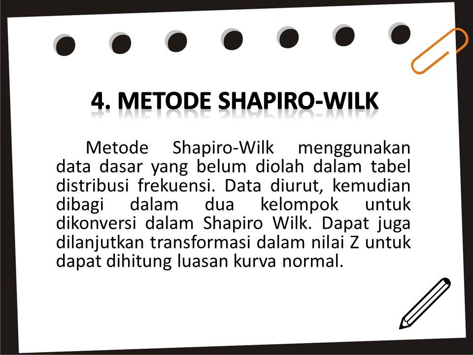 Metode Shapiro-Wilk menggunakan data dasar yang belum diolah dalam tabel distribusi frekuensi. Data diurut, kemudian dibagi dalam dua kelompok untuk d