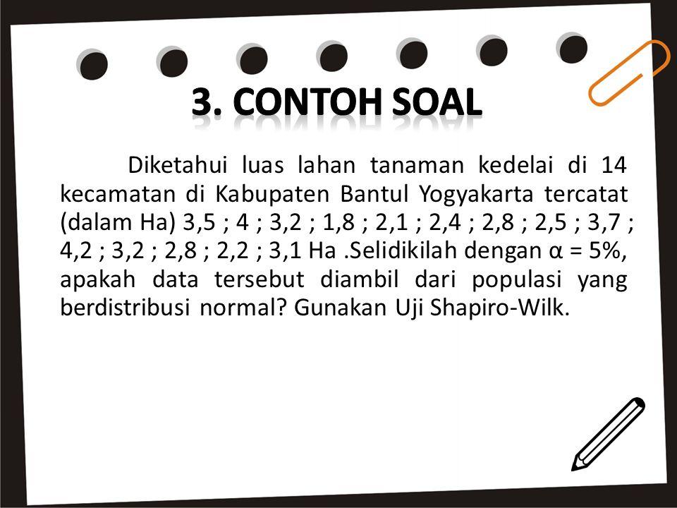Diketahui luas lahan tanaman kedelai di 14 kecamatan di Kabupaten Bantul Yogyakarta tercatat (dalam Ha) 3,5 ; 4 ; 3,2 ; 1,8 ; 2,1 ; 2,4 ; 2,8 ; 2,5 ;