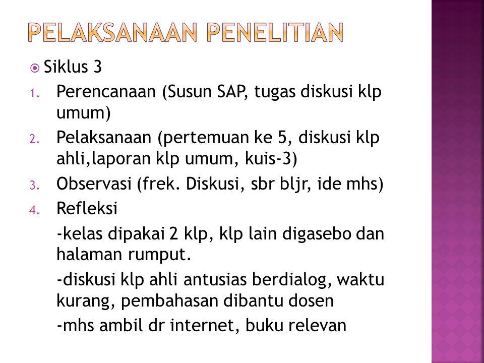  Siklus 3 1. Perencanaan (Susun SAP, tugas diskusi klp umum) 2. Pelaksanaan (pertemuan ke 5, diskusi klp ahli,laporan klp umum, kuis-3) 3. Observasi