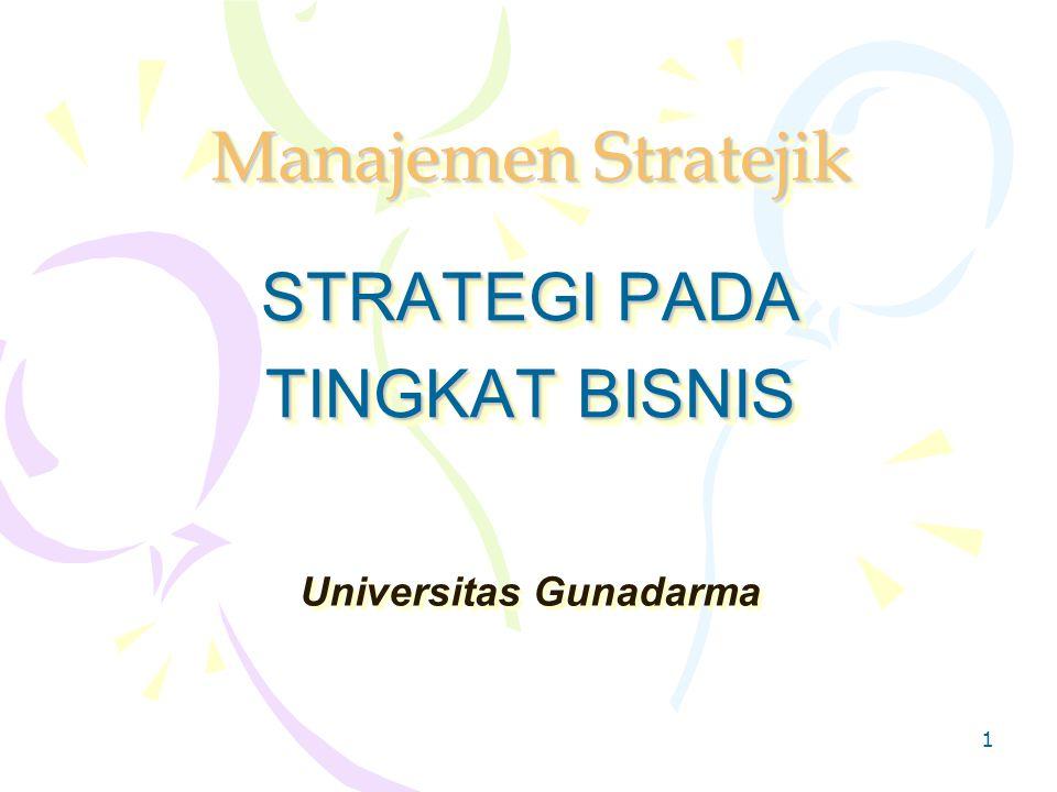 1 Manajemen Stratejik STRATEGI PADA TINGKAT BISNIS STRATEGI PADA TINGKAT BISNIS Universitas Gunadarma