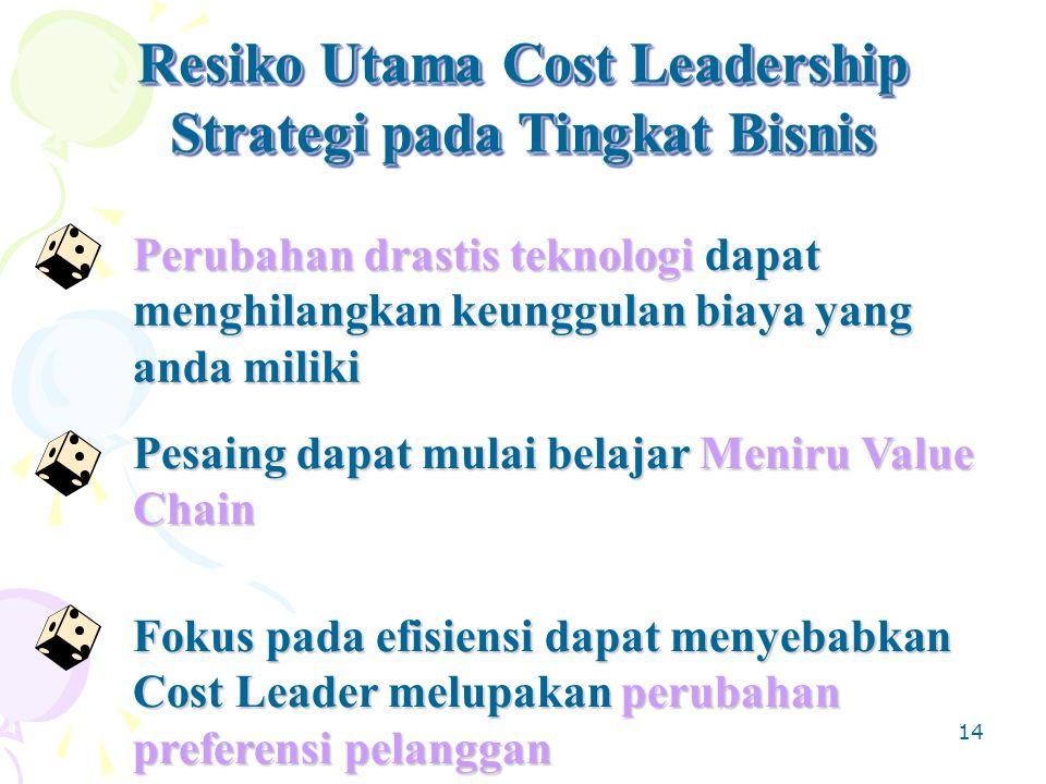 14 Resiko Utama Cost Leadership Strategi pada Tingkat Bisnis Resiko Utama Cost Leadership Strategi pada Tingkat Bisnis Perubahan drastis teknologi dapat menghilangkan keunggulan biaya yang anda miliki Pesaing dapat mulai belajar Meniru Value Chain Fokus pada efisiensi dapat menyebabkan Cost Leader melupakan perubahan preferensi pelanggan