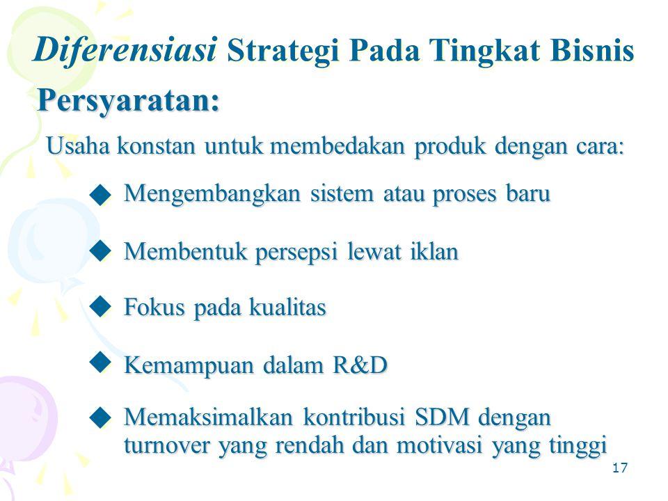 17 Diferensiasi Strategi Pada Tingkat Bisnis Persyaratan: Usaha konstan untuk membedakan produk dengan cara: Mengembangkan sistem atau proses baru Fokus pada kualitas Memaksimalkan kontribusi SDM dengan turnover yang rendah dan motivasi yang tinggi Kemampuan dalam R&D Membentuk persepsi lewat iklan