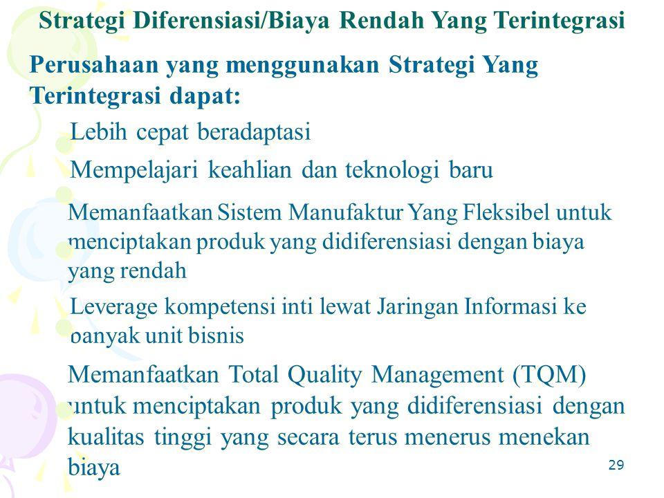 29 Perusahaan yang menggunakan Strategi Yang Terintegrasi dapat: Strategi Diferensiasi/Biaya Rendah Yang Terintegrasi Memanfaatkan Sistem Manufaktur Yang Fleksibel untuk menciptakan produk yang didiferensiasi dengan biaya yang rendah Lebih cepat beradaptasi Mempelajari keahlian dan teknologi baru Leverage kompetensi inti lewat Jaringan Informasi ke banyak unit bisnis Memanfaatkan Total Quality Management (TQM) untuk menciptakan produk yang didiferensiasi dengan kualitas tinggi yang secara terus menerus menekan biaya
