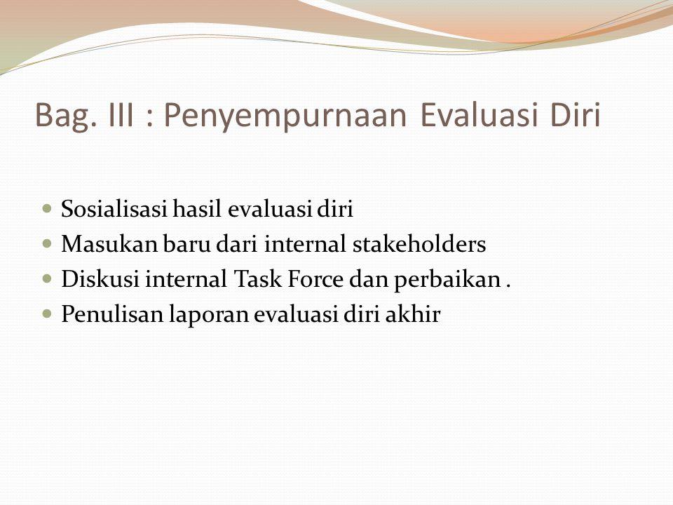 Bag. III : Penyempurnaan Evaluasi Diri Sosialisasi hasil evaluasi diri Masukan baru dari internal stakeholders Diskusi internal Task Force dan perbaik