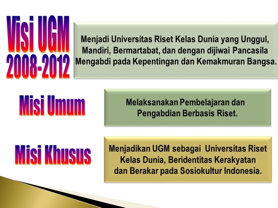 Melaksanakan Pembelajaran dan Pengabdian Berbasis Riset. Melaksanakan Pembelajaran dan Pengabdian Berbasis Riset. Menjadikan UGM sebagai Universitas R