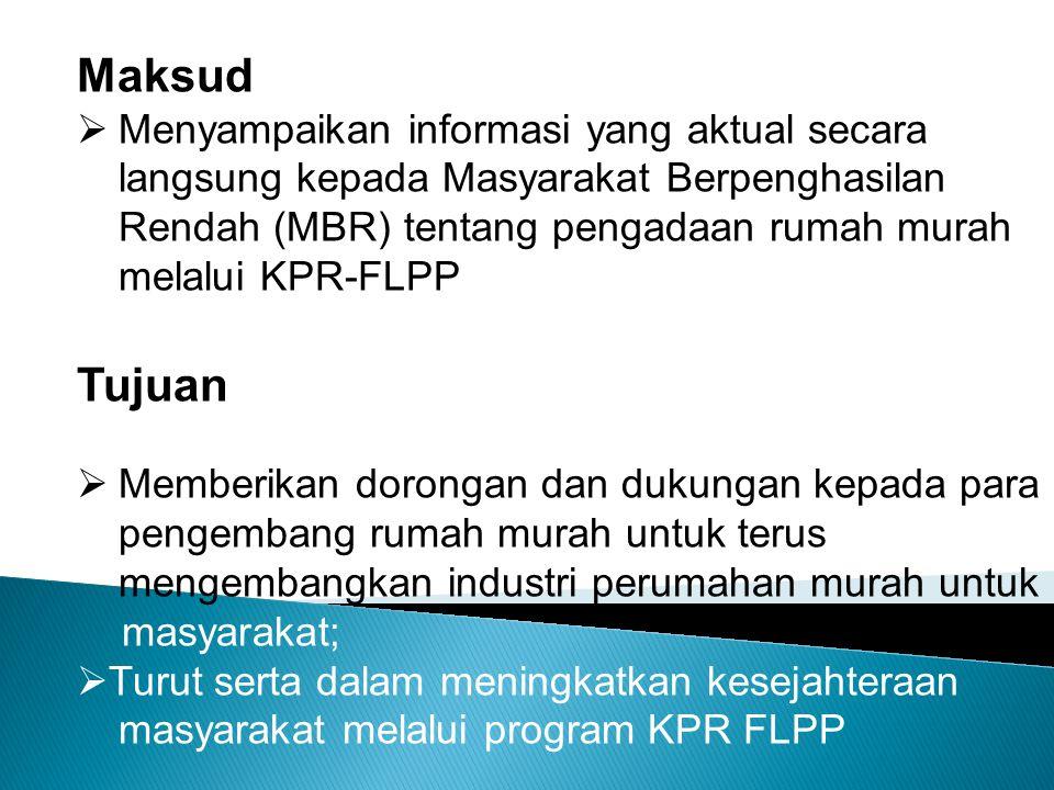 Maksud  Menyampaikan informasi yang aktual secara langsung kepada Masyarakat Berpenghasilan Rendah (MBR) tentang pengadaan rumah murah melalui KPR-FL