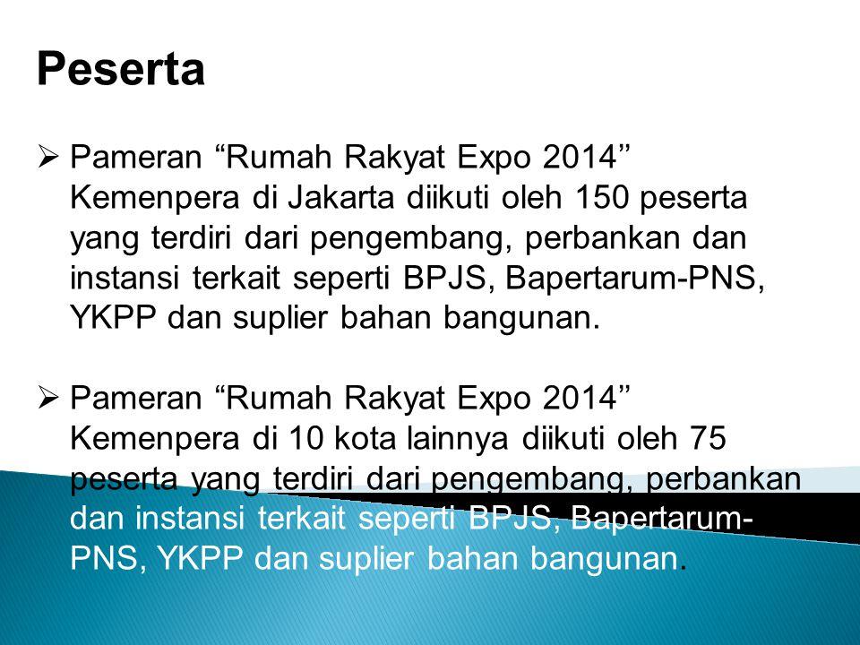 Peserta  Pameran Rumah Rakyat Expo 2014'' Kemenpera di Jakarta diikuti oleh 150 peserta yang terdiri dari pengembang, perbankan dan instansi terkait seperti BPJS, Bapertarum-PNS, YKPP dan suplier bahan bangunan.