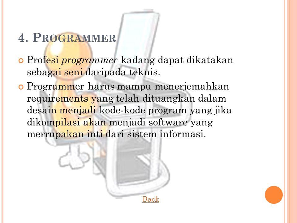 4.P ROGRAMMER Profesi programmer kadang dapat dikatakan sebagai seni daripada teknis.