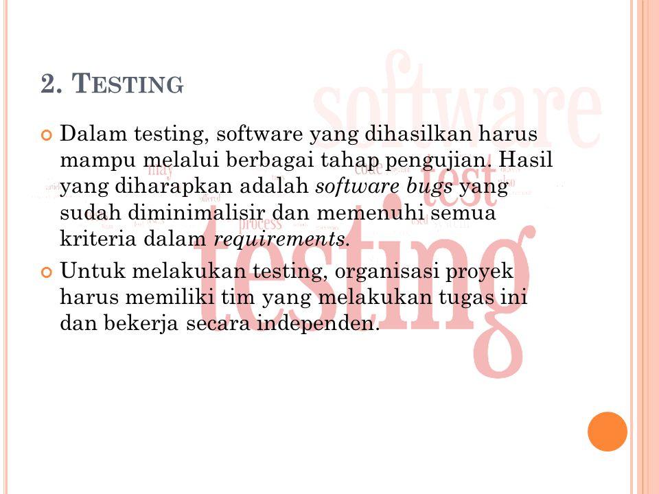2.T ESTING Dalam testing, software yang dihasilkan harus mampu melalui berbagai tahap pengujian.