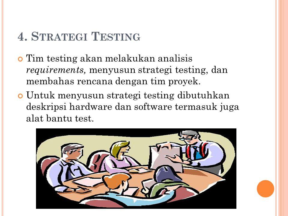 4. S TRATEGI T ESTING Tim testing akan melakukan analisis requirements, menyusun strategi testing, dan membahas rencana dengan tim proyek. Untuk menyu