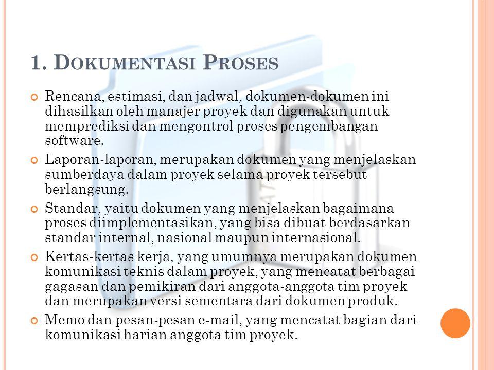 1. D OKUMENTASI P ROSES Rencana, estimasi, dan jadwal, dokumen-dokumen ini dihasilkan oleh manajer proyek dan digunakan untuk memprediksi dan mengontr