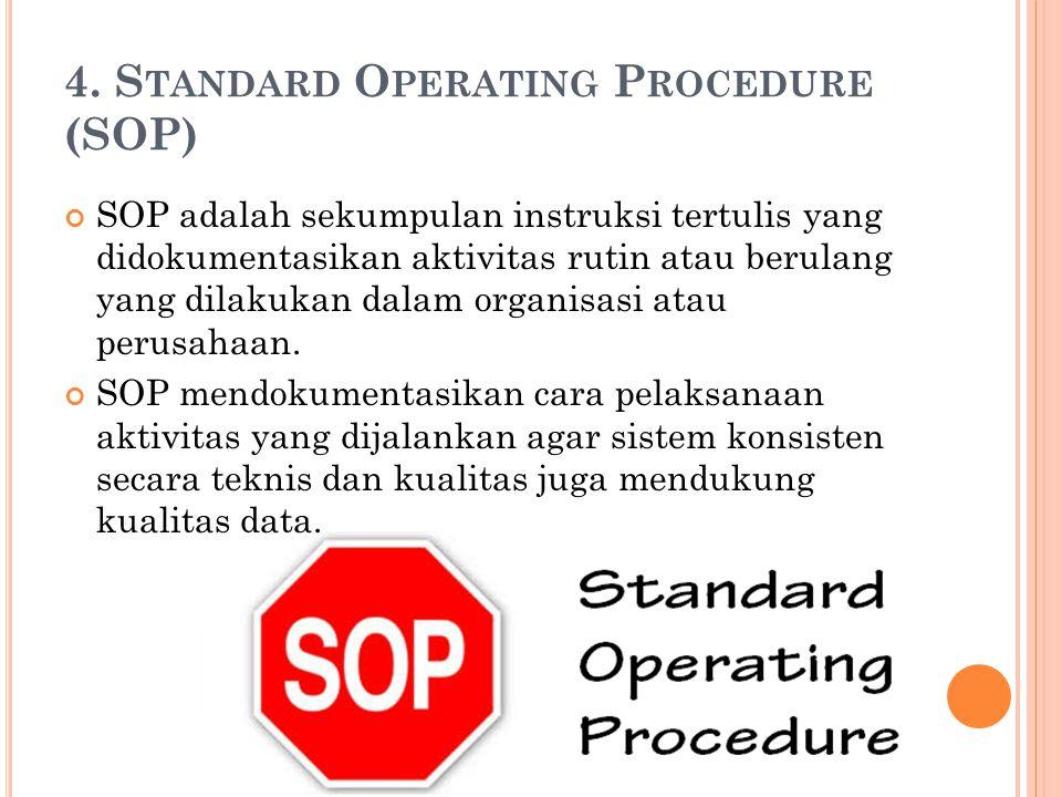 4. S TANDARD O PERATING P ROCEDURE (SOP) SOP adalah sekumpulan instruksi tertulis yang didokumentasikan aktivitas rutin atau berulang yang dilakukan d