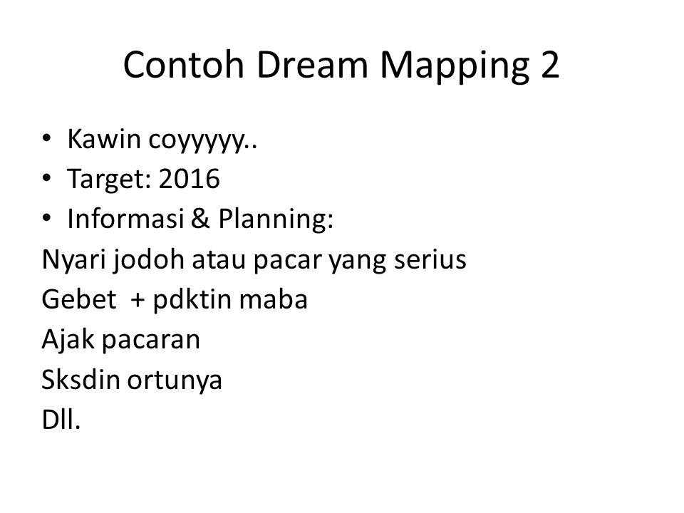 Contoh Dream Mapping 2 Kawin coyyyyy.. Target: 2016 Informasi & Planning: Nyari jodoh atau pacar yang serius Gebet + pdktin maba Ajak pacaran Sksdin o