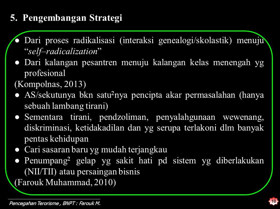 """10 Pencegahan Terorisme, BNPT : Farouk M. 5. Pengembangan Strategi ●Dari proses radikalisasi (interaksi genealogi/skolastik) menuju """"self–radicalizati"""