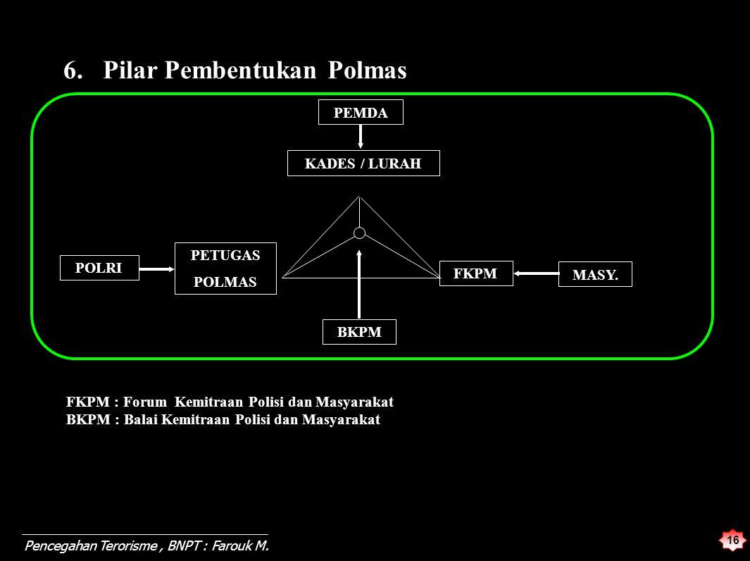 16 Pencegahan Terorisme, BNPT : Farouk M. 6. Pilar Pembentukan Polmas BKPM PEMDA KADES / LURAH POLRI PETUGAS POLMAS FKPM MASY. FKPM : Forum Kemitraan
