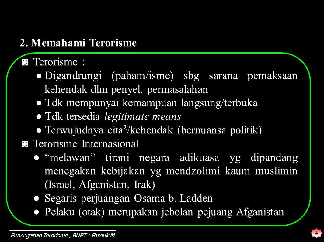 ◙ Terorisme : ●Digandrungi (paham/isme) sbg sarana pemaksaan kehendak dlm penyel. permasalahan ● Tdk mempunyai kemampuan langsung/terbuka ● Tdk tersed