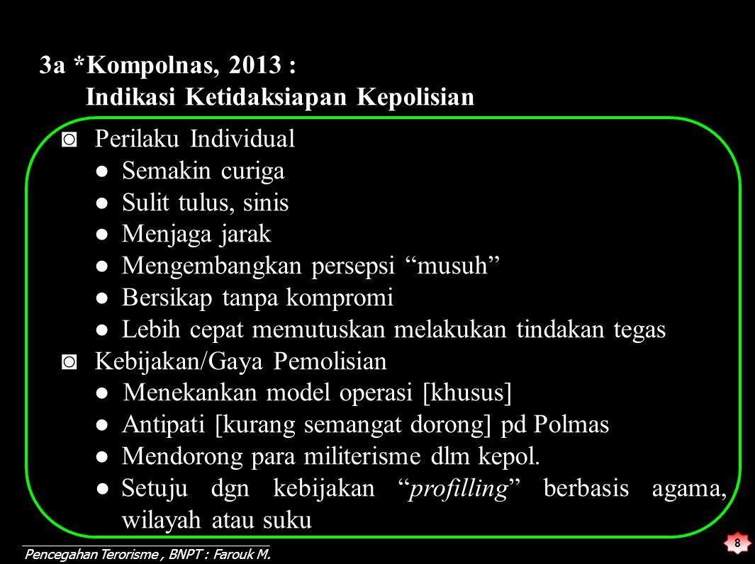 8 3a *Kompolnas, 2013 : Indikasi Ketidaksiapan Kepolisian ◙ Perilaku Individual ● Semakin curiga ● Sulit tulus, sinis ● Menjaga jarak ● Mengembangkan