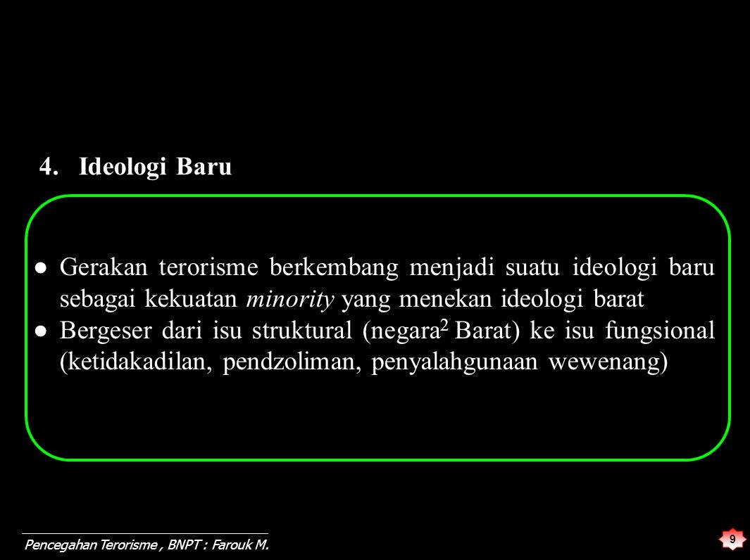 9 Pencegahan Terorisme, BNPT : Farouk M. ● Gerakan terorisme berkembang menjadi suatu ideologi baru sebagai kekuatan minority yang menekan ideologi ba
