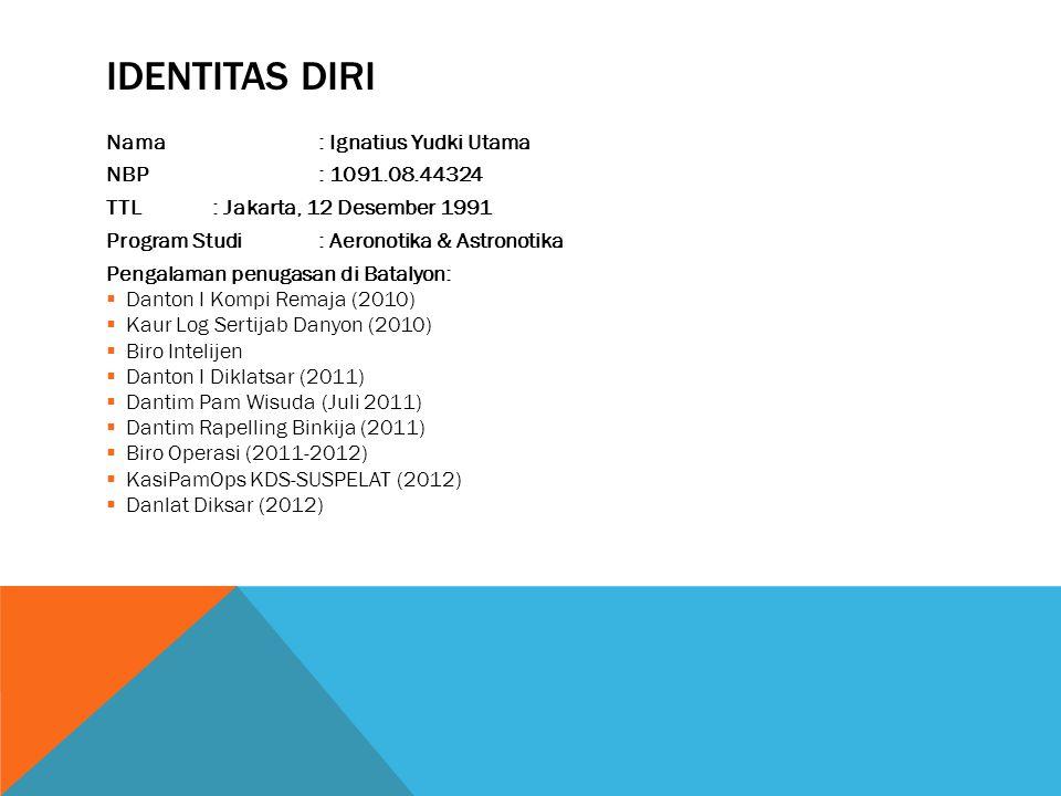 IDENTITAS DIRI Nama: Ignatius Yudki Utama NBP: 1091.08.44324 TTL: Jakarta, 12 Desember 1991 Program Studi: Aeronotika & Astronotika Pengalaman penugas