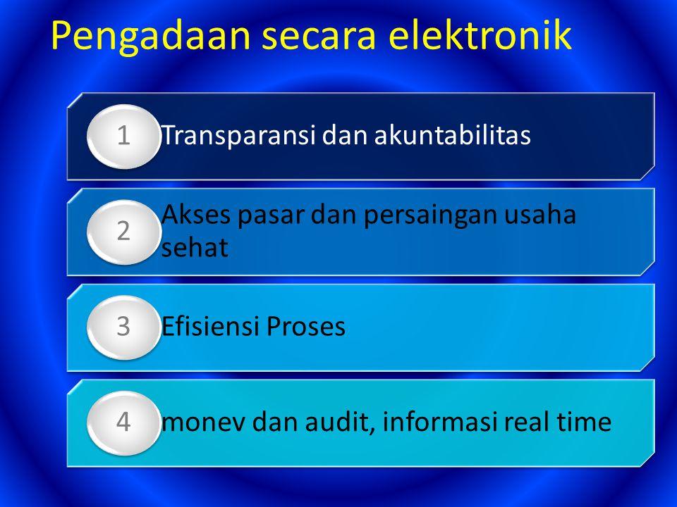 Transparansi dan akuntabilitas 1 Akses pasar dan persaingan usaha sehat 2 Efisiensi Proses 3 monev dan audit, informasi real time 4 Pengadaan secara e