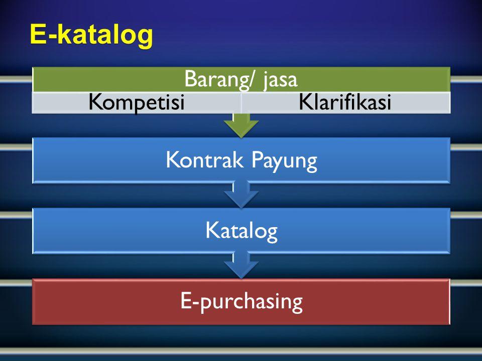E-purchasing Katalog Kontrak Payung Barang/ jasa KompetisiKlarifikasiE-katalog