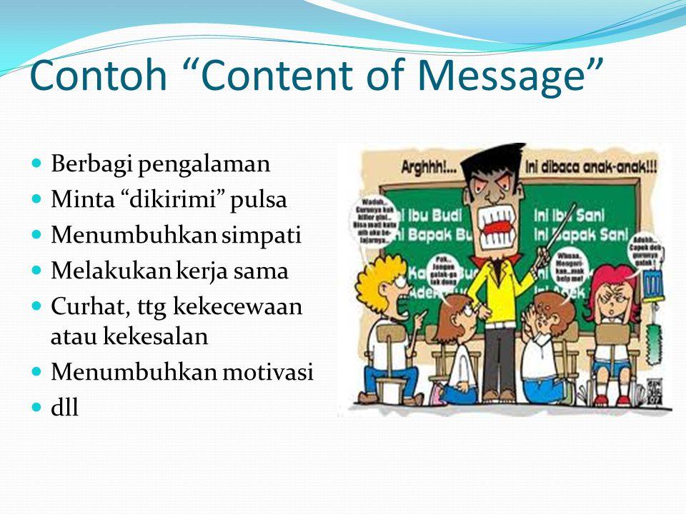 Contoh Content of Message Berbagi pengalaman Minta dikirimi pulsa Menumbuhkan simpati Melakukan kerja sama Curhat, ttg kekecewaan atau kekesalan Menumbuhkan motivasi dll
