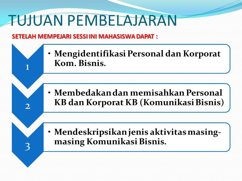 TUJUAN PEMBELAJARAN 1 Mengidentifikasi Personal dan Korporat Kom. Bisnis. 2 Membedakan dan memisahkan Personal KB dan Korporat KB (Komunikasi Bisnis)