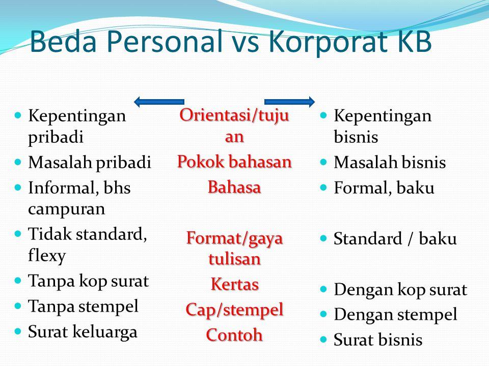 Beda Personal vs Korporat KB Kepentingan pribadi Masalah pribadi Informal, bhs campuran Tidak standard, flexy Tanpa kop surat Tanpa stempel Surat kelu
