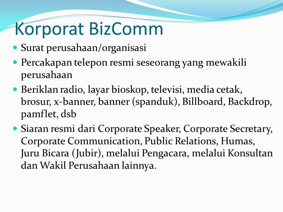 Korporat BizComm Surat perusahaan/organisasi Percakapan telepon resmi seseorang yang mewakili perusahaan Beriklan radio, layar bioskop, televisi, medi