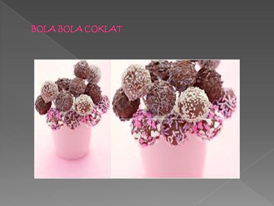  Bahan-bahan bola bola coklat :  Roti marie  Susu kental manis coklat atau vanila  meses