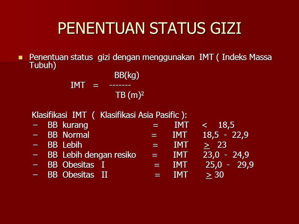 PENENTUAN STATUS GIZI Penentuan status gizi dengan menggunakan IMT ( Indeks Massa Tubuh) Penentuan status gizi dengan menggunakan IMT ( Indeks Massa T