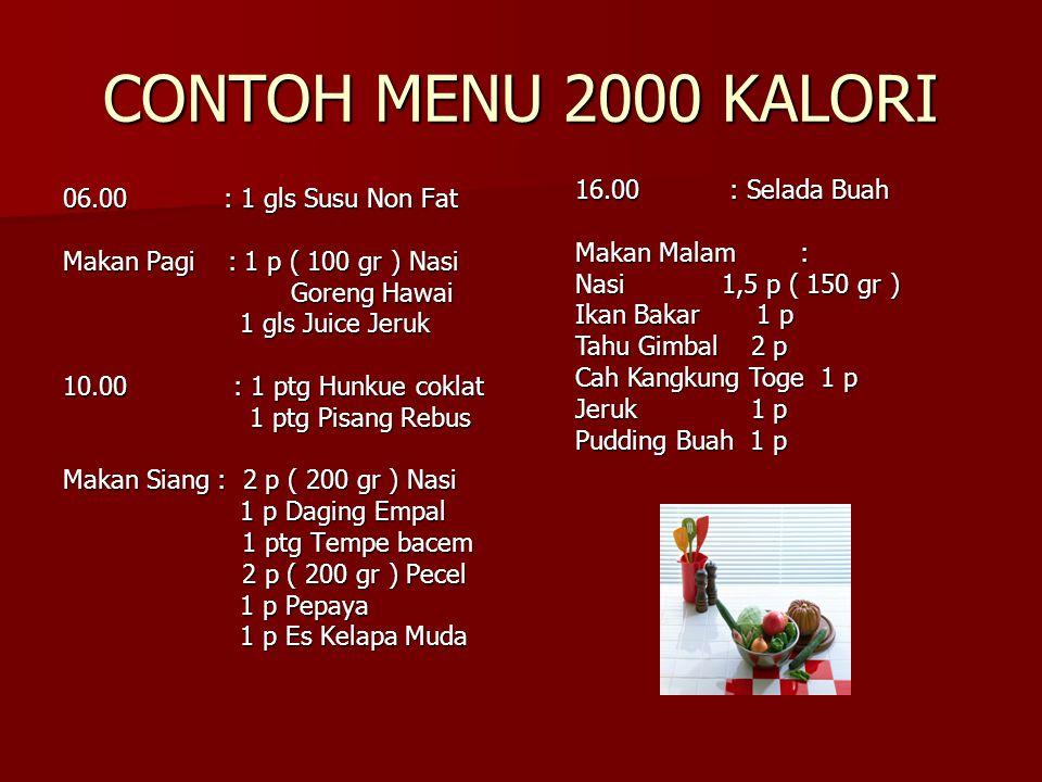 CONTOH MENU 2000 KALORI 06.00 : 1 gls Susu Non Fat Makan Pagi : 1 p ( 100 gr ) Nasi Goreng Hawai Goreng Hawai 1 gls Juice Jeruk 1 gls Juice Jeruk 10.0