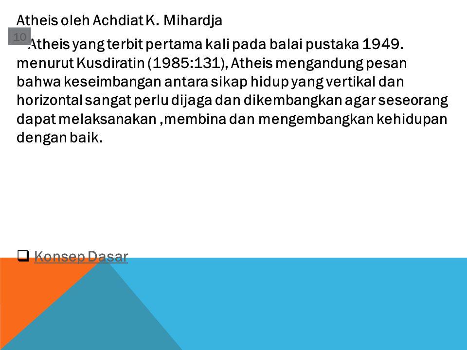 Atheis oleh Achdiat K. Mihardja Atheis yang terbit pertama kali pada balai pustaka 1949. menurut Kusdiratin (1985:131), Atheis mengandung pesan bahwa