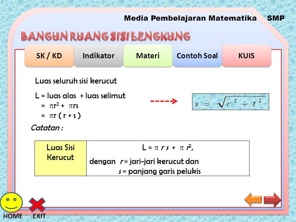 Media Pembelajaran MatematikaSMP SK / KD Indikator Materi KUIS Contoh Soal EXITHOME Luas seluruh sisi kerucut L = luas alas + luas selimut =  r 2 + 