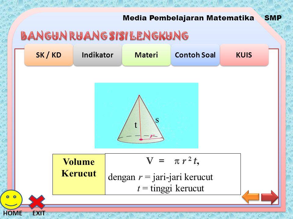 Media Pembelajaran MatematikaSMP SK / KD Indikator Materi KUIS Contoh Soal EXITHOME s t V =  r 2 t, dengan r = jari-jari kerucut t = tinggi kerucut V