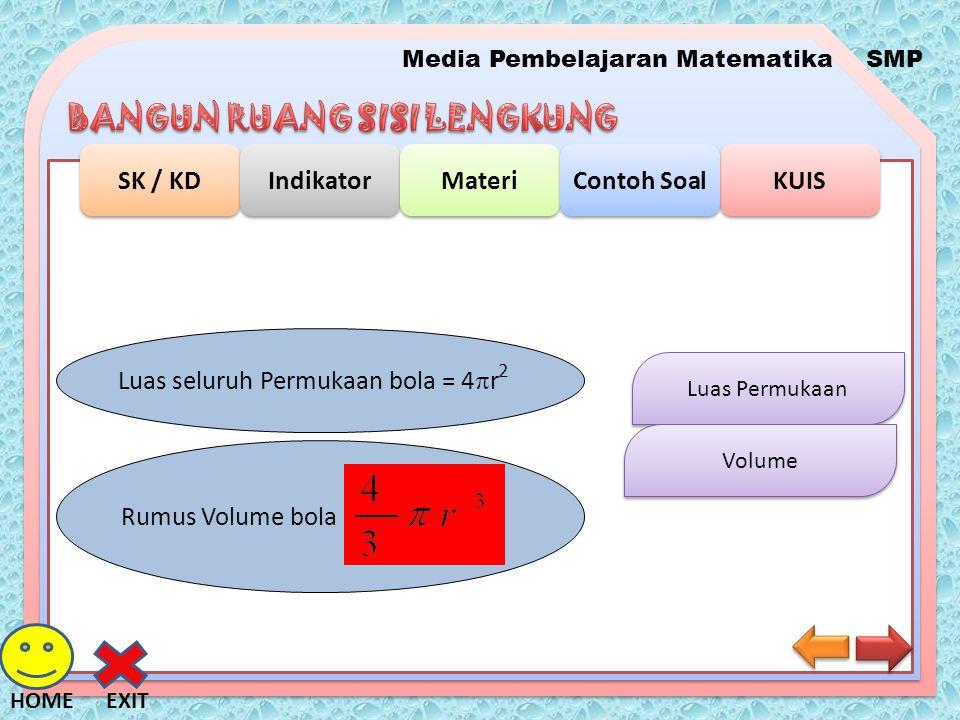 Media Pembelajaran MatematikaSMP SK / KD Indikator Materi KUIS Contoh Soal EXITHOME Luas Permukaan Volume Luas seluruh Permukaan bola = 4  r 2 Rumus