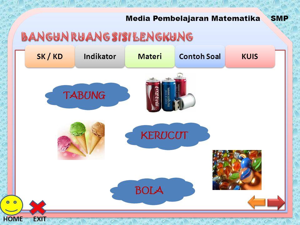 Media Pembelajaran MatematikaSMP SK / KD Indikator Materi KUIS Contoh Soal EXITHOME Luas Permukaan Tabung r r t Volume