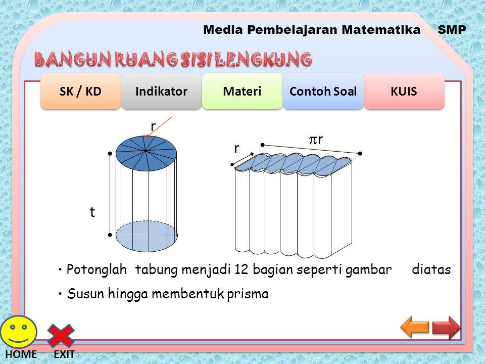 Media Pembelajaran MatematikaSMP SK / KD Indikator Materi KUIS Contoh Soal EXITHOME t r Sisi alas Luas =  r 2 Tinggi tabung = t Volum tabung = Luas alas x tinggi V =  r 2 t atau V =  r 2 h dengan r = jari-jari tabung t atau h = tinggi Rumus Volum Tabung