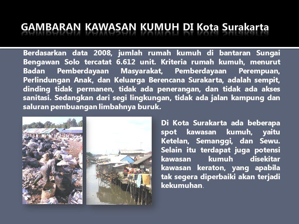Berdasarkan data 2008, jumlah rumah kumuh di bantaran Sungai Bengawan Solo tercatat 6.612 unit. Kriteria rumah kumuh, menurut Badan Pemberdayaan Masya