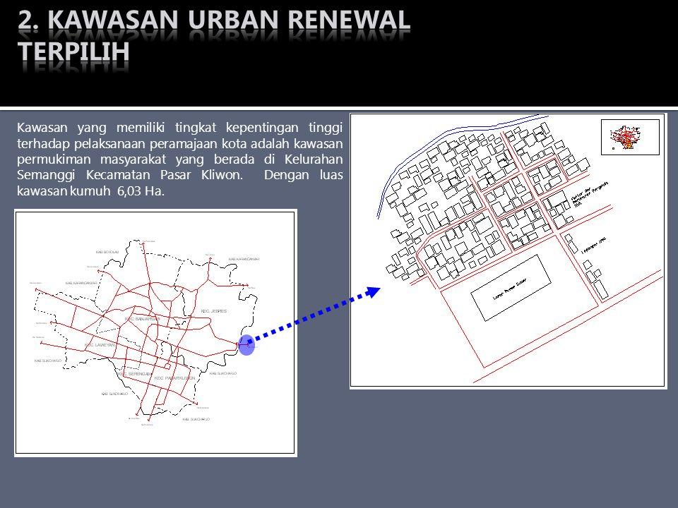 Kawasan yang memiliki tingkat kepentingan tinggi terhadap pelaksanaan peramajaan kota adalah kawasan permukiman masyarakat yang berada di Kelurahan Se